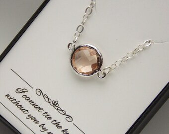 Silver Peach Necklace, Sterling Silver, Glass Champagne, Blush, Bridesmaid Necklace, Bridesmaid Jewelry, Wedding Jewelry, Peach Pendant Gift