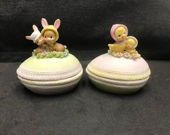 Vintage Enesco E4700 Porcelain Baby Bunnies Egg & Baby Chicks Egg Containers
