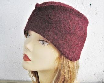 Women's felted cap Felted hat Burgundy hat Maroon hat Women's stylish hat Art deco hat 1930s hat Felted wool hat Forage cap Hat felt