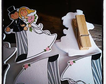 set of 6 clothespins wood couple groom