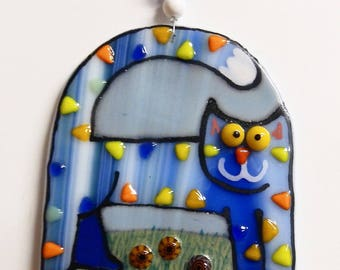 Cat Fused Glass Ornament