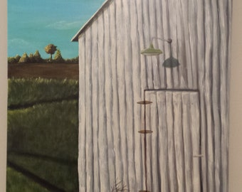 Barn painting, Crooked Barn, Turquoise Sky