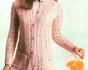 Ladies Long Line Cardigan, Crochet Pattern. PDF Instant Download.