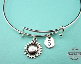 Sunflower Bangle, Sunflower Bracelet, Sunflower Charm, Friend Bangle, Best Friend Bracelet, Initial Charm, Silver Plated,Personalized,CPL007