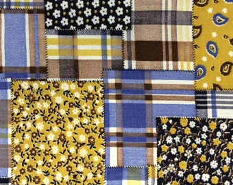 Faux Patchwork Print Vintage 1970s Cotton - 1 3/8 Yards - Fabric Yardage / Woven Fabric / Cotton Fabric / 1970s Fabric / Plaid and Calico