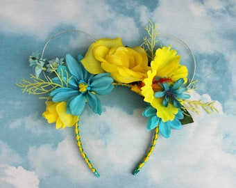 Flounder Mickey Mouse Ears | Flower Crown Mickey Ears | Little Mermaid