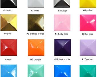 300/500/1000 PCS X 12mm Wholesale Square Rivet Pyramid Studs Spike Square Stud Jean Button Spot Metal Matte cell Phone Case Deco Kits SD12