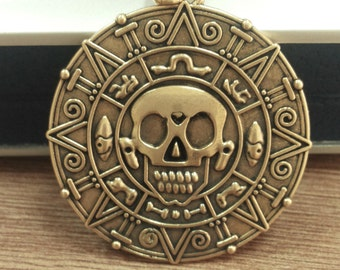 Aztec Coin necklace Pirates of the caribbean jewelry Pirate skull Doubloon coin Pendant  Brass aztec coin Black Pearl Earring