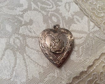 WWII ARMY Soldier Sweetheart Gold Locket Antique Pendant Military