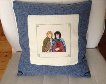 """Pillow with embroidery-Hobbit-from """"The Lord of the Rings"""""""