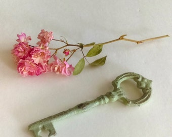 Vintage Inspired Secret Garden Upcycled Key to My Heart/ Antique Green Distressed Patina