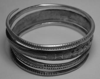 Genuine Hill Tribe Old Coin Coiled Engraved Bracelet