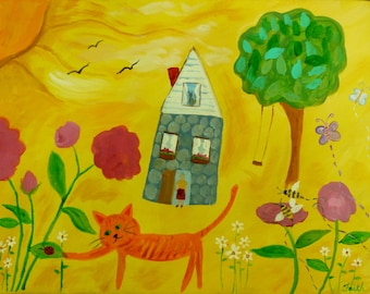 Acrylic cat painting, whimsical painting, art for kid's room, nursery wall art, bright yellow painting, cat gift, happy art, wall art canvas