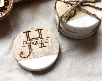 Wedding Gifts. Personalized Wood Marble Drink Coasters. Coaster Set (Set of 4)