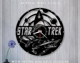 Star Trek Acrylic Clock/Movie Clock *A168 Wall Clock/Crystal Clock/Acrylic Horloge/Mirror Wall Clock/Unique Clock/Star Trek Fan Gift
