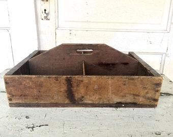 Vintage Wood Carrier Box Rustic Primitive Farmhouse