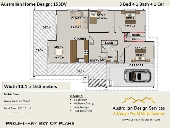 3 bedroom Timber Floor 153 m2 3 Bedrooms on stumps plans