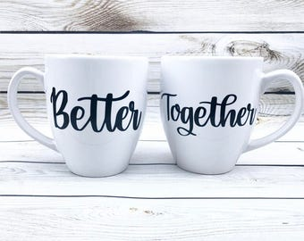 Better Together // Couples Coffee Mug Set // Calligraphy mugs // Cute Unique Couples Gift // Valentines Day Gift