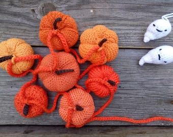 Handmade Pumpkin Garland Crocheted and Knitted Pumpkins Halloween Decor Halloween Gift Home Decor Housewarming Gift Ghosts