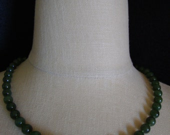 Jade Bead Necklace, Vintage