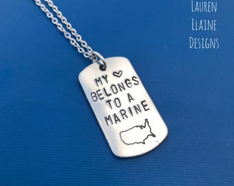 My Heart Belongs to a Marine- Custom Hand Stamped Dog Tag Necklace