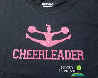 Youth CHEERLEADER, youth girls sparkly glitter cheer tee shirt