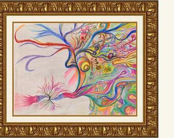 Smokin' - High Quality Print of Original 18x24 Abstract Drawing