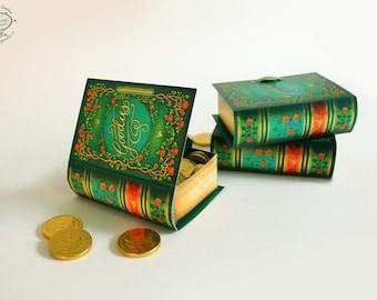 Printable DIY Mini Book Box | Paper Gift Box / Favor Box | Antique Green Floral Design | Papercraft A4 /letter pdf template digital download