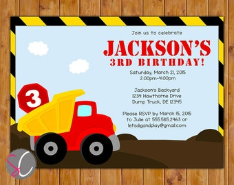 Dump Truck Birthday Party Invitation Personalized Boys Construction Invite Any Age 3rd 4th 5th Printable 5x7 Digital JPG File (438)