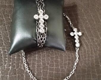 Adjustable, Triple Wrap Bracelet or Necklace with Swarovski Crystal Cross