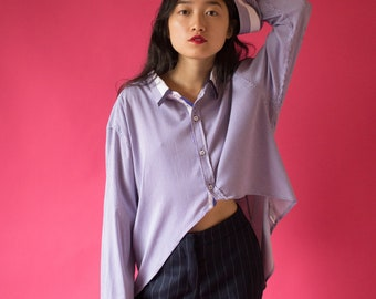 Asymmetric Oversized Striped Shirt - One Size