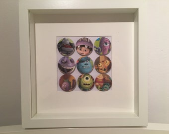 Disney / Pixar Monsters Inc Bubbles, picture includes Mike Wazowski, Sully, Randall, Celia, Waternoose & Boo