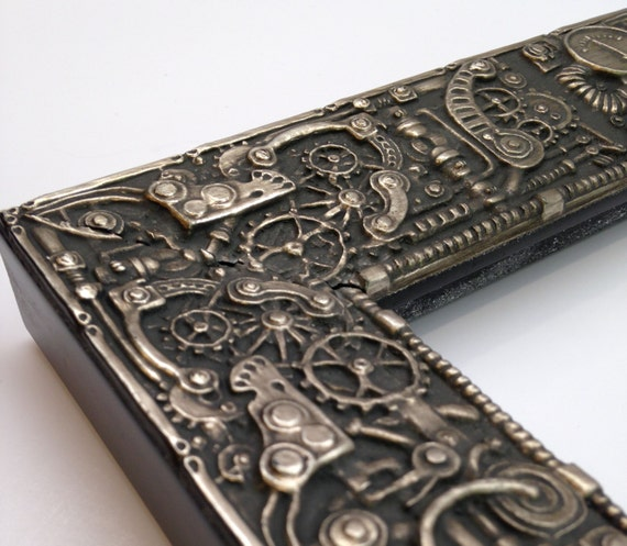 steampunk picture frame silver 3x5 4x6 5x7 8x10 11x14. Black Bedroom Furniture Sets. Home Design Ideas