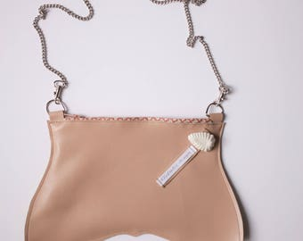Genuine leather nude clutch, worn cross body shoulder mini bag, purse
