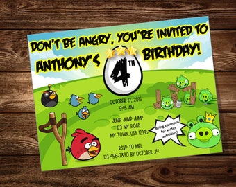 Angry Birds Birthday Party Invitation ***DIGITAL FILE ONLY***