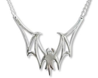 Vampire Bat Polished Silver Finish Pewter Pendant Necklace NK-633