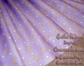 Sailor Moon Inspired Crescent Moons and Stars on Purple Sweet Lolita Skirt - ANY SIZE