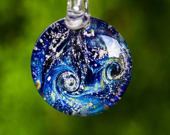 Memorial Night Swirl Glass Pendant with Infused Cremation Ash from Dogs and Cats, Memorial Jewelry for Pets, Glass Cremation Jewelry