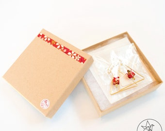 Origami Red Tulip Gold Earrings
