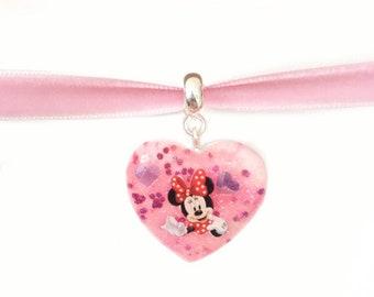 Minnie Mouse Disney Necklace - Disney Velvet Choker - Illustrated - Glitter Heart - Disney Jewellery - Minnie Mouse Jewelry