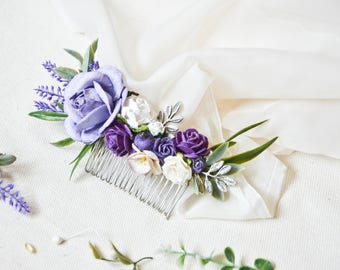 Purple and lilac Bridal Hair Comb, Lavender flower hair Comb, Floral Wedding Hair Accessories,Bridesmaids Gift.