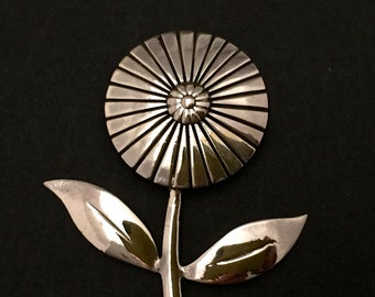 Large Flower Brooch - sterling silver - Large art deco style flower brooch, styled from an antique french brooch