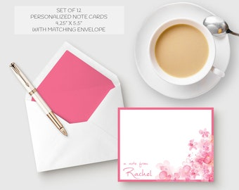 PERSONALIZED NOTE CARDS, Stationery, Hot Pink, Personalized Stationery Set, Thank You Note Cards, Watercolor, Personalized, Set of 12, Gift