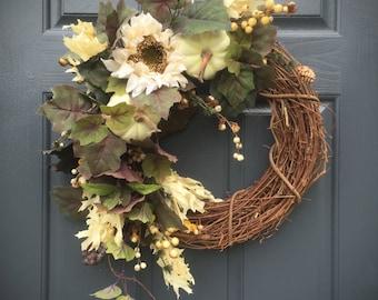 White Pumpkin Wreath, Fall Pumpkins, White Pumpkin Decor, Fall Decorating, Sunflower Wreaths, Fall Sunflowers, Fall Door Decorations