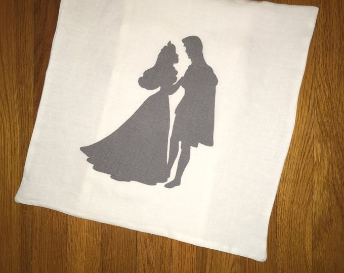 100% Washed French Linen Gray Sleeping Beauty Inspired Shadow Pillow Cover Farmhouse Pillow 16x16 Pillow Cover Wedding Gift Valentine