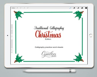 Christmas Practice Sheets in Traditional Calligraphy Style for Procreate