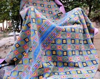 Handmade Reversible Fine Stitch Kantha Throw Vintage sari Kantha Beach Sheets Twin Throw