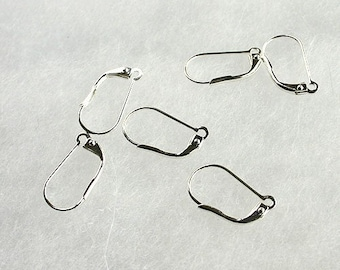 100pcs Earring Leverback Earwire Silver Or Gold Plated Brass Plain With Split  Loop 17x10mm