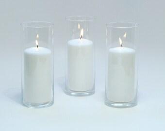 Set of 3 Cylinder Vases, Wedding Centerpieces, Candle Holder, Baptism Decor.