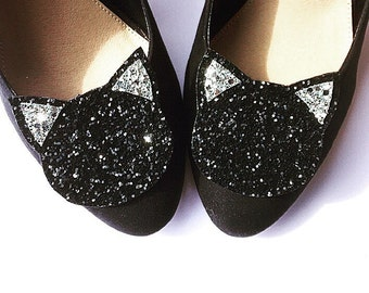 Glitter Black and Silver Cat Shoe Clips (set of two), handmade in the UK